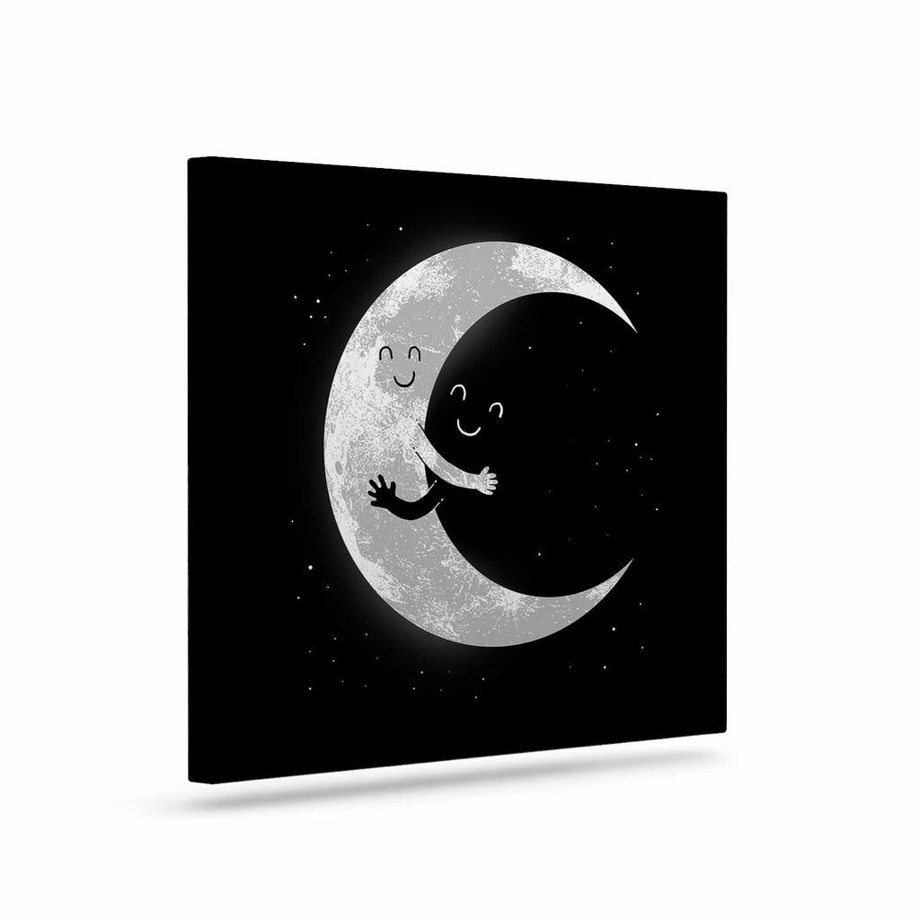 "Digital Carbine ""Moon Hug"" Black White Canvas Art - KESS InHouse  - 1"
