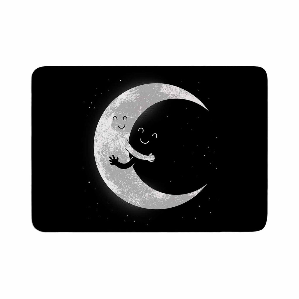 "Digital Carbine ""Moon Hug"" Black White Memory Foam Bath Mat - KESS InHouse"