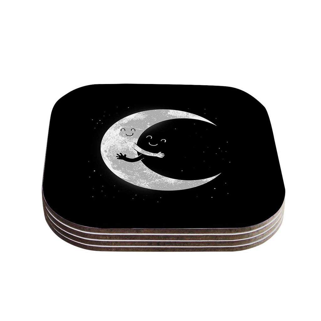 "Digital Carbine ""Moon Hug"" Black White Coasters (Set of 4)"