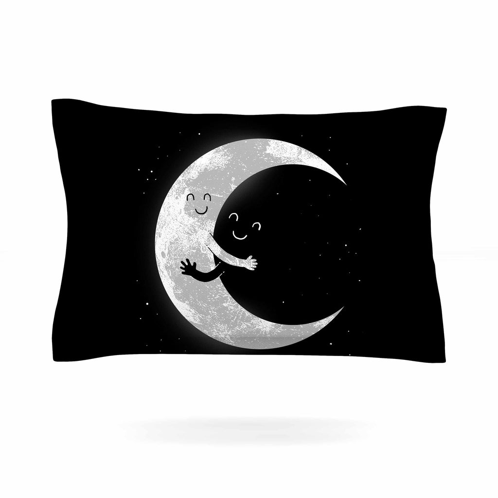 "Digital Carbine ""Moon Hug"" Black White Pillow Sham - KESS InHouse  - 1"
