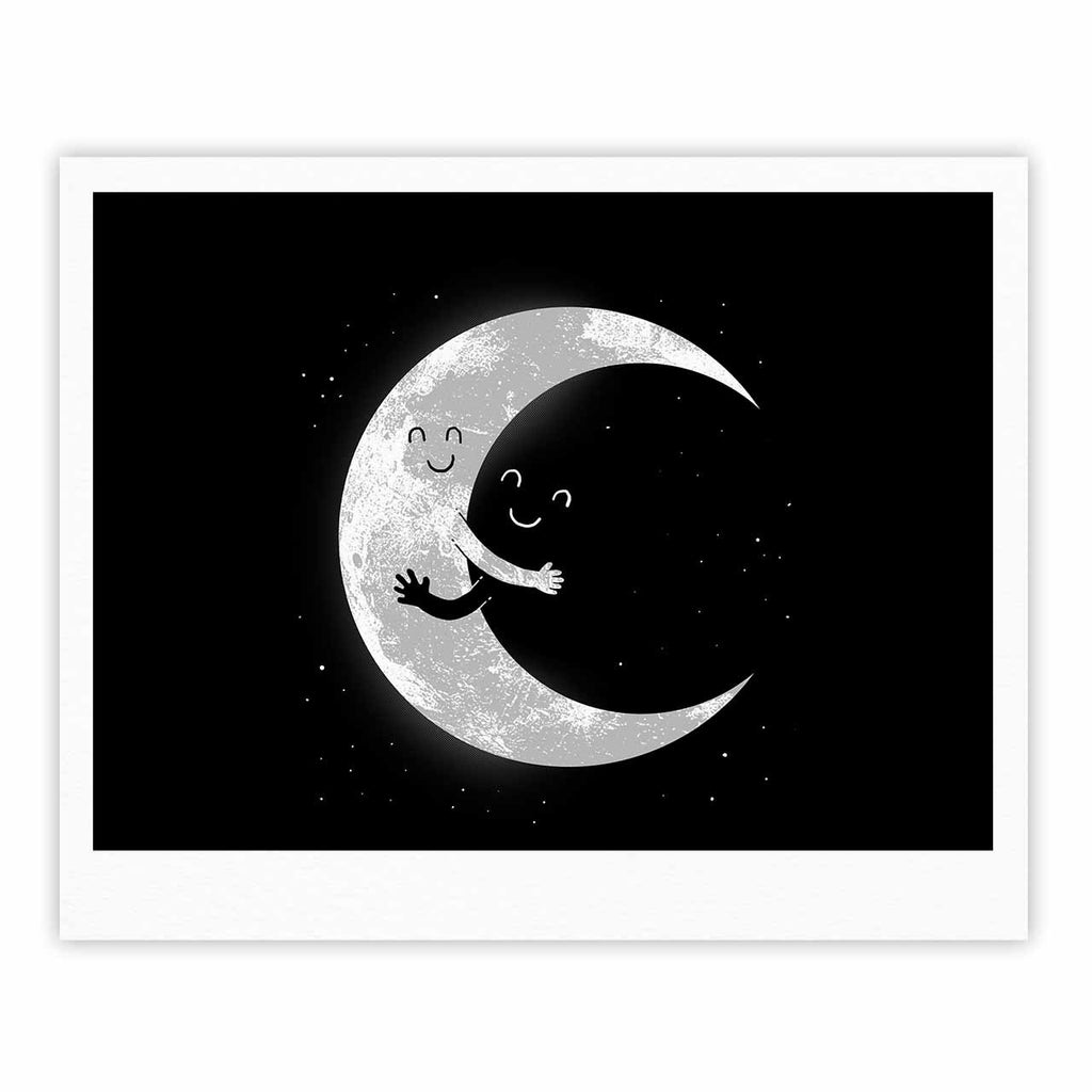 "Digital Carbine ""Moon Hug"" Black White Fine Art Gallery Print - KESS InHouse"