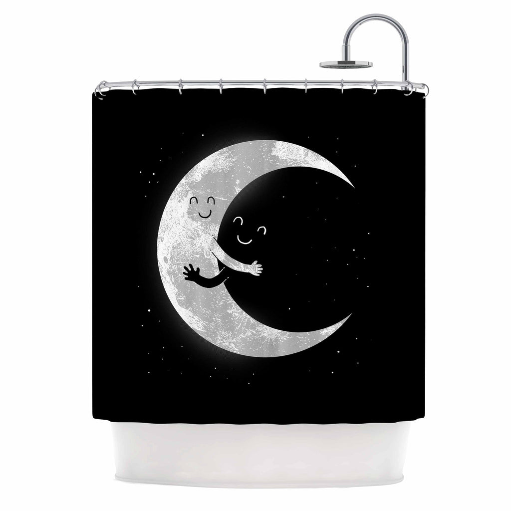 "Digital Carbine ""Moon Hug"" Black White Shower Curtain - KESS InHouse"