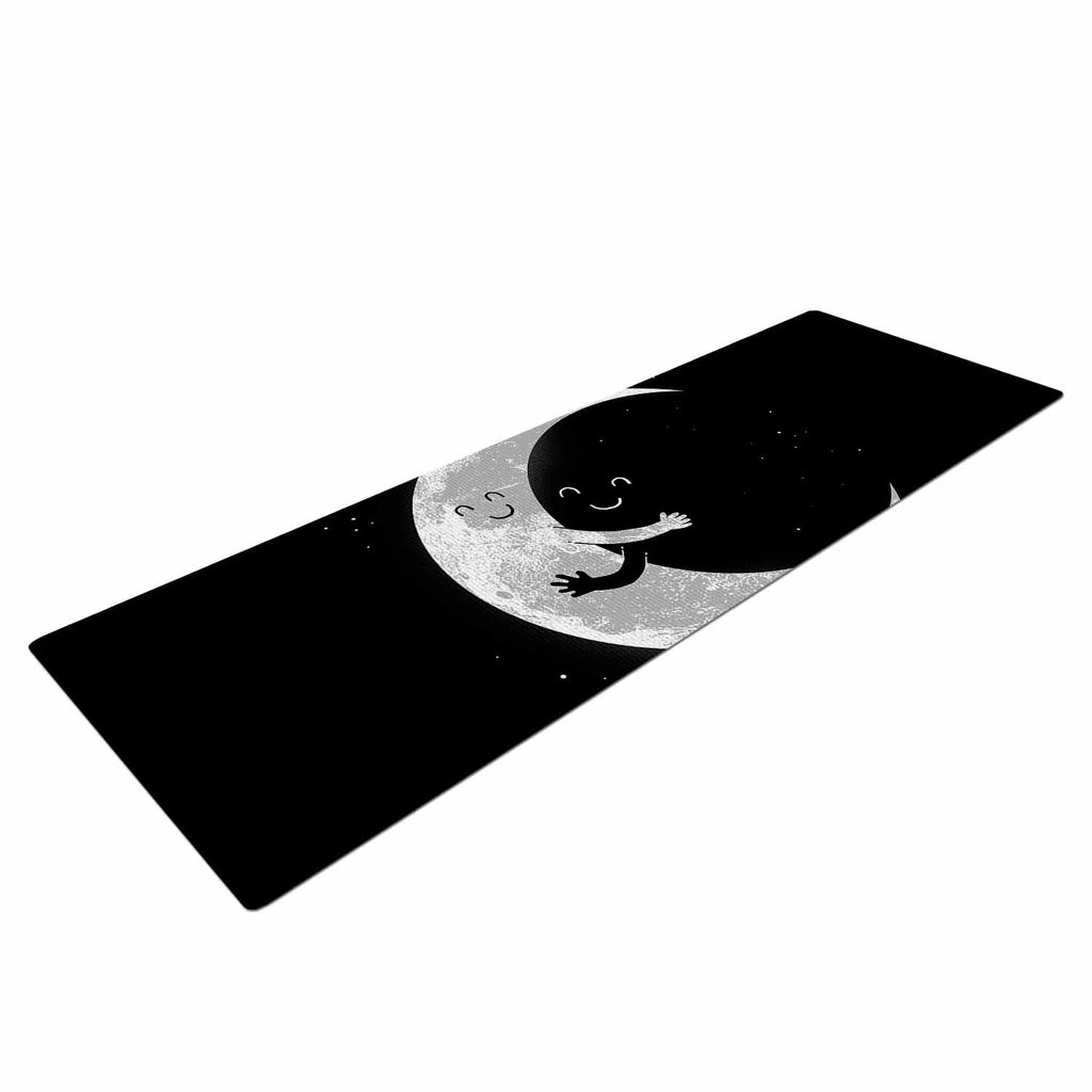 "Digital Carbine ""Moon Hug"" Black White Yoga Mat - KESS InHouse  - 1"