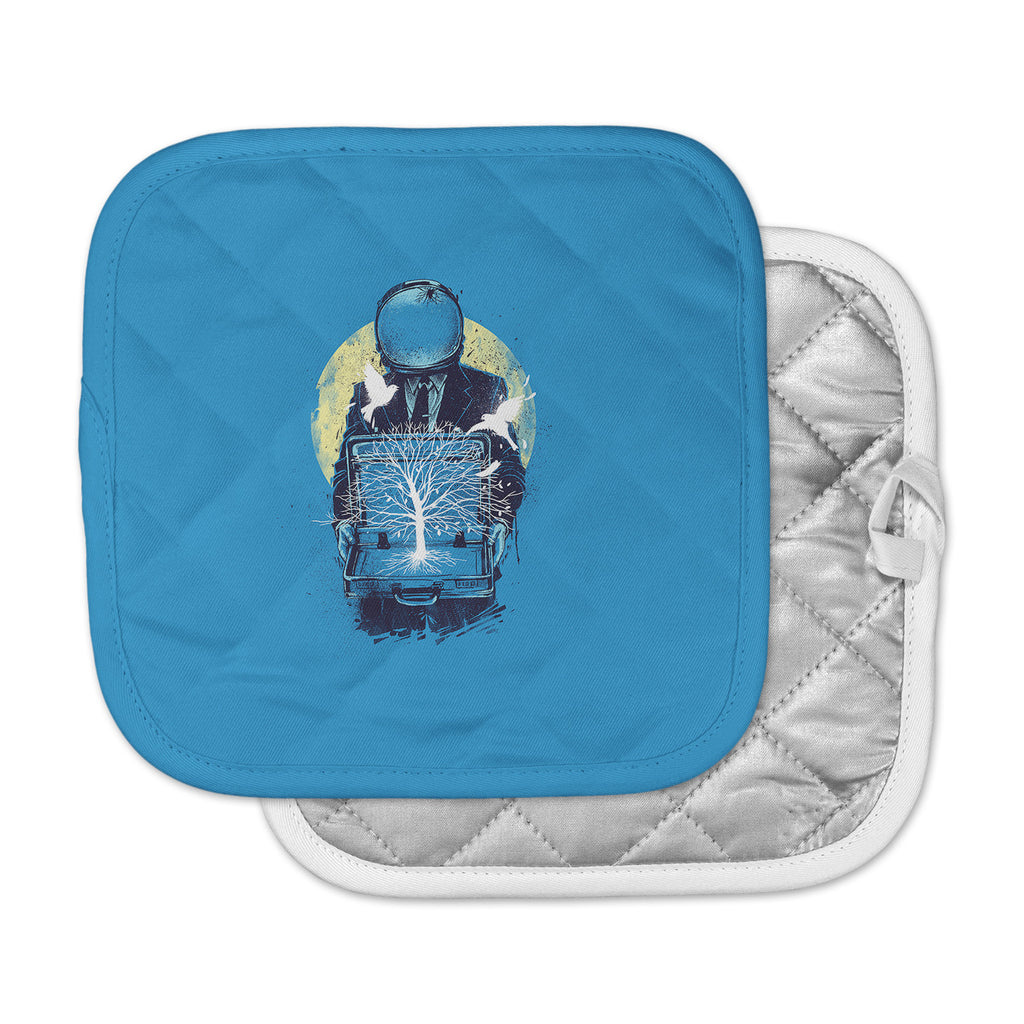 "Digital Carbine ""A New Life"" Blue Illustration Pot Holder"