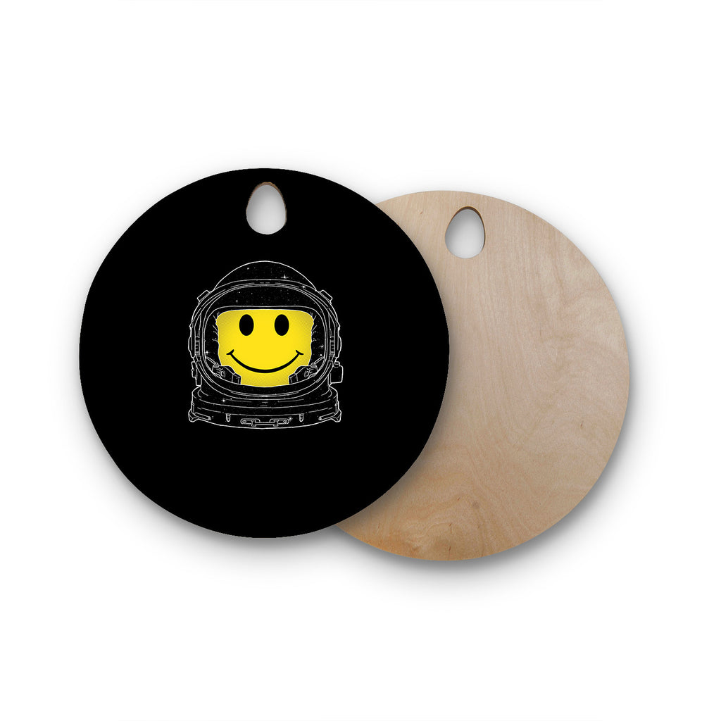 "Digital Carbine ""Happiness"" Yellow Digital Round Wooden Cutting Board"