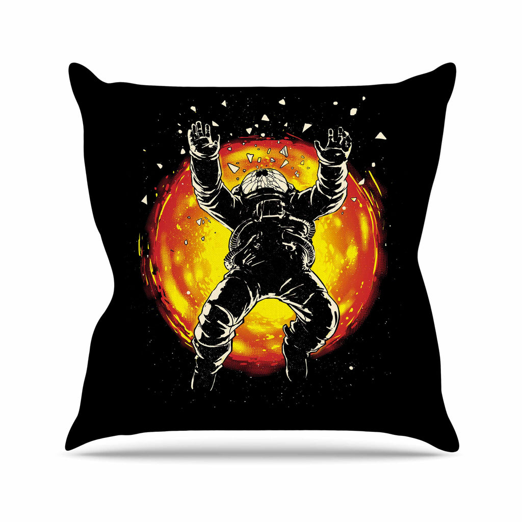 "Digital Carbine ""Lost In The Space"" Black Red Digital Outdoor Throw Pillow"