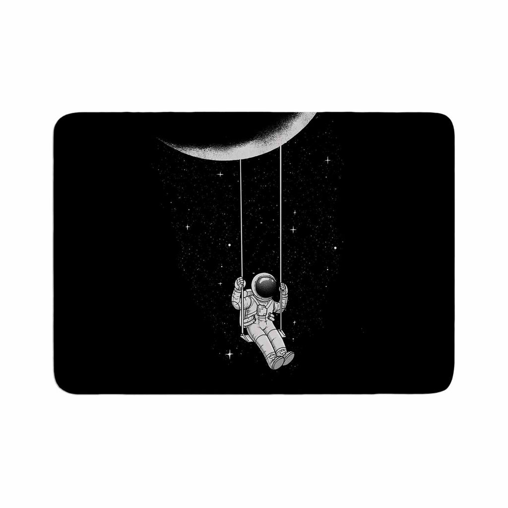 "Digital Carbine ""Moon Swing"" Black Fantasy Illustration Memory Foam Bath Mat"