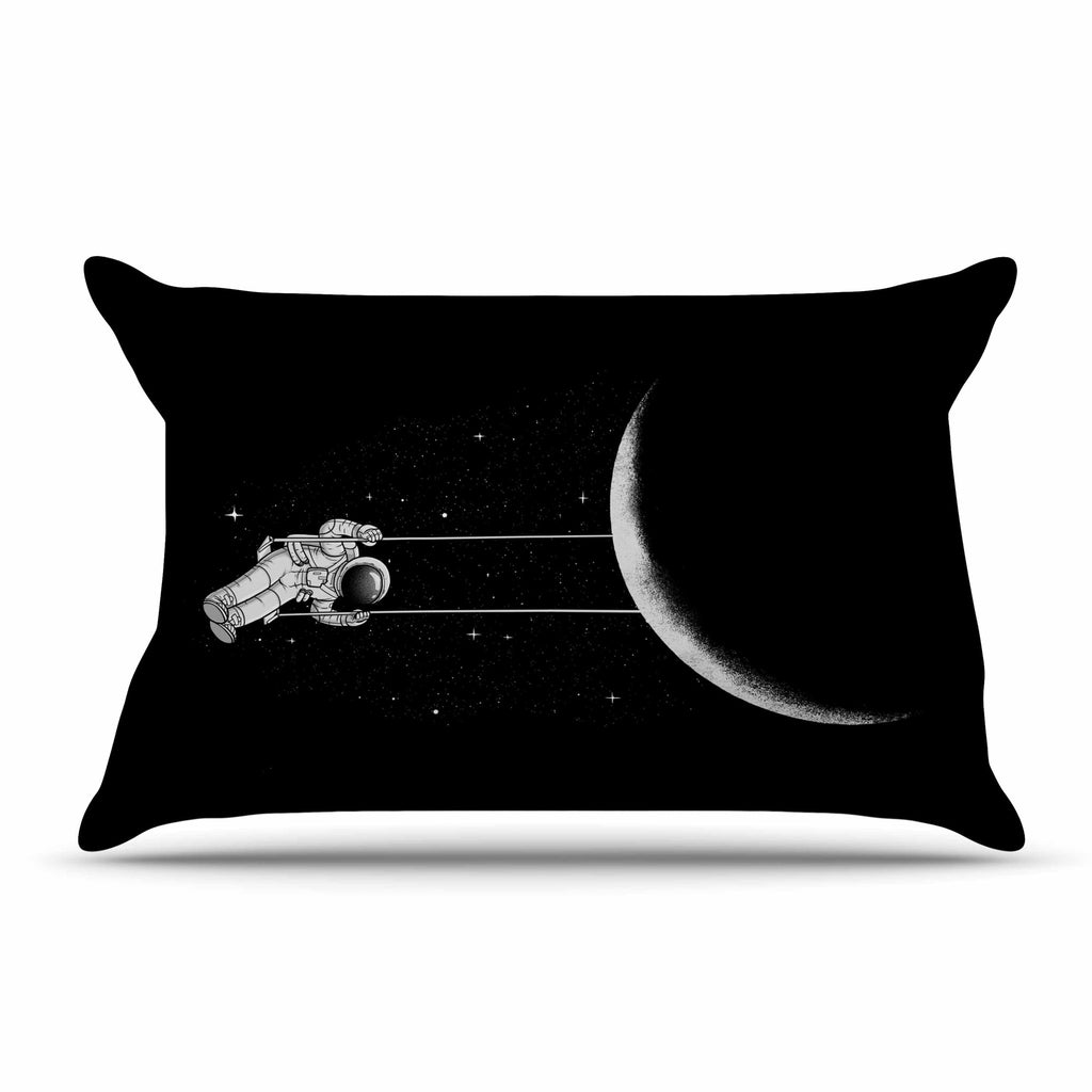 "Digital Carbine ""Moon Swing"" Black Fantasy Illustration Pillow Sham"