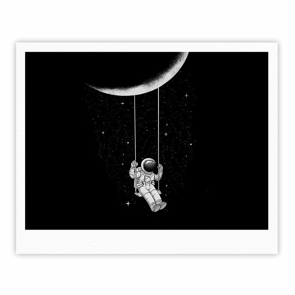 "Digital Carbine ""Moon Swing"" Black Fantasy Illustration Fine Art Gallery Print"