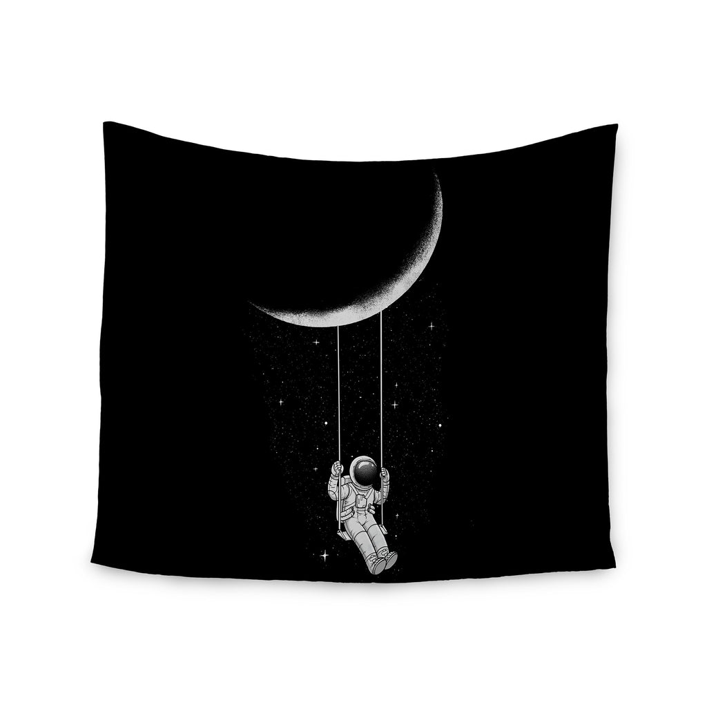 "Digital Carbine ""Moon Swing"" Black Fantasy Illustration Wall Tapestry - KESS InHouse  - 1"
