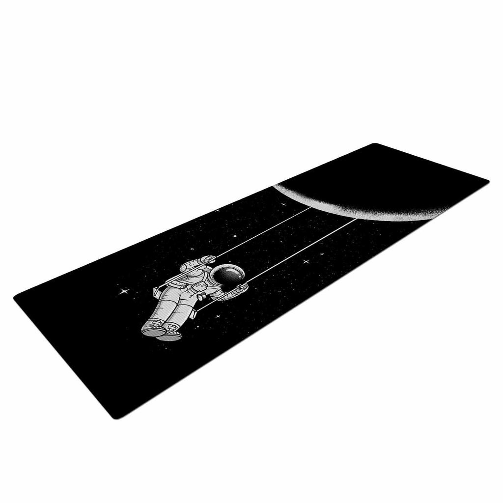 "Digital Carbine ""Moon Swing"" Black Fantasy Illustration Yoga Mat"