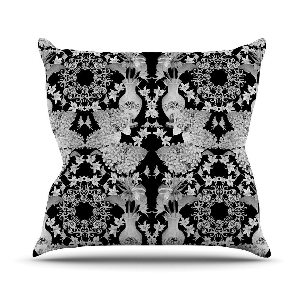 "DLKG Design ""Versailles Black"" Outdoor Throw Pillow - KESS InHouse  - 1"