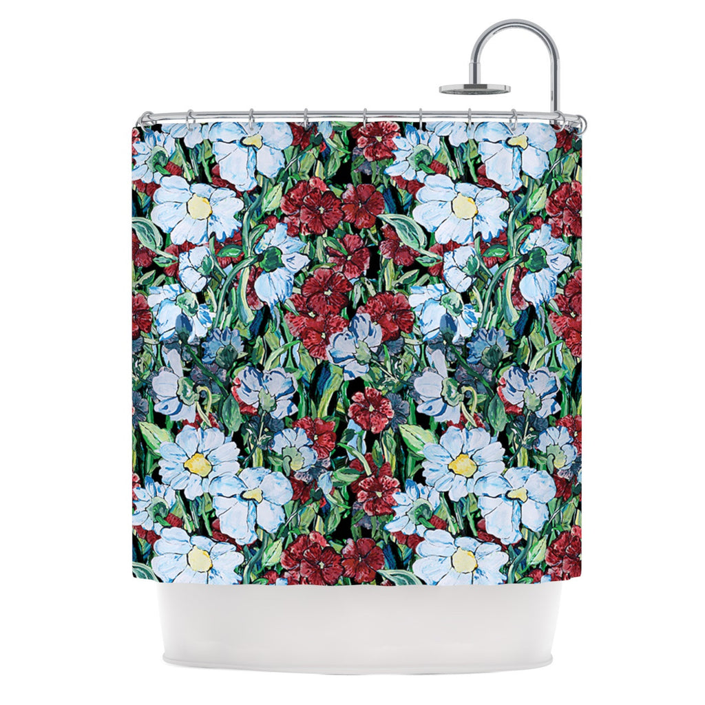 "DLKG Design ""Giardino"" Garden Flowers Shower Curtain - KESS InHouse"
