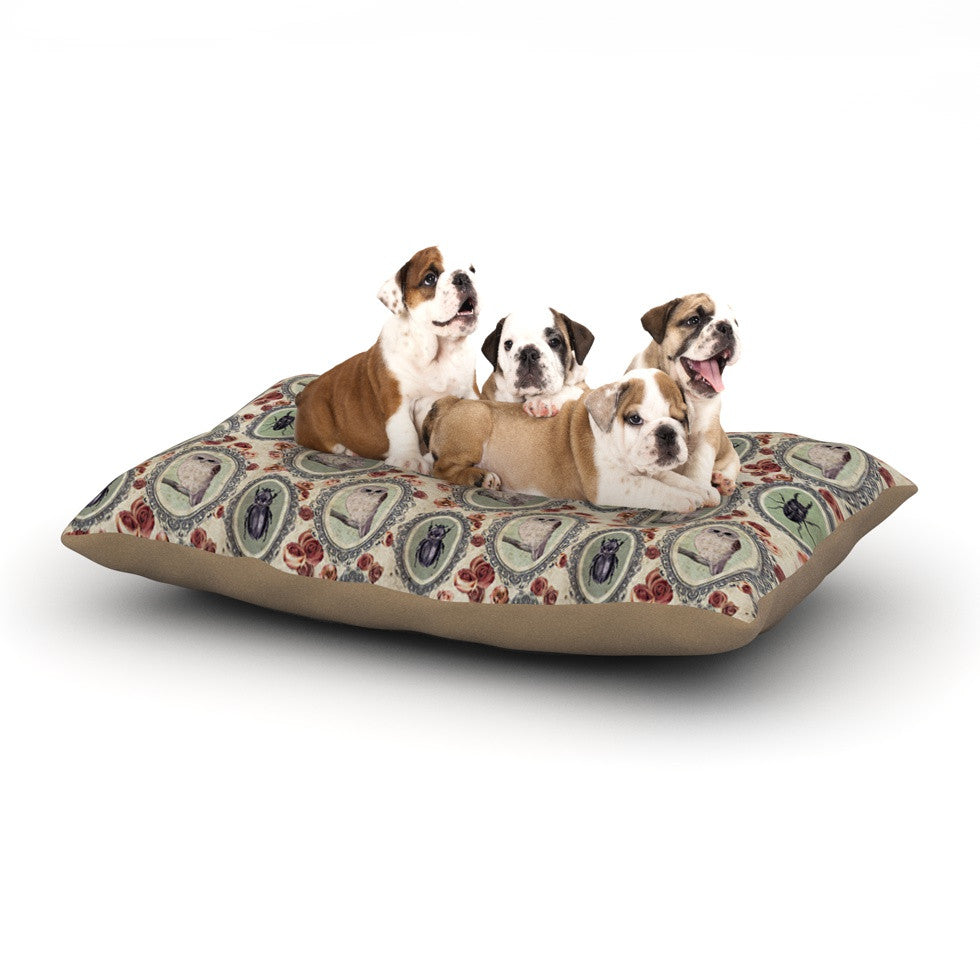 "DLKG Design ""Camafeu"" Gray Beetles Dog Bed - KESS InHouse  - 1"