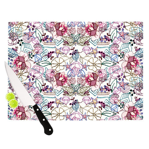 "DLKG Design ""Cool Stitch in White"" Blush Cutting Board - Outlet Item"
