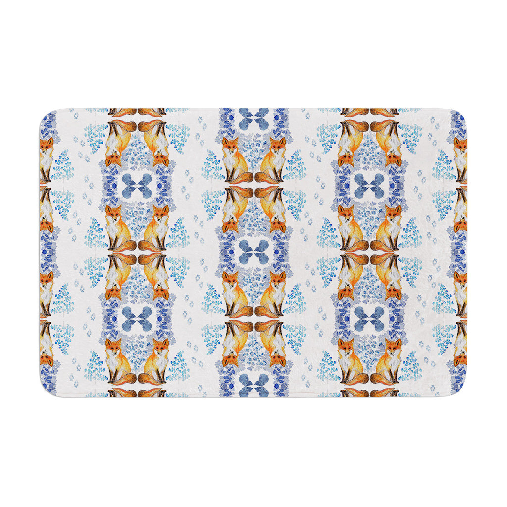"DLKG Design ""Red Fox in Snow"" Blue Orange Memory Foam Bath Mat - KESS InHouse"