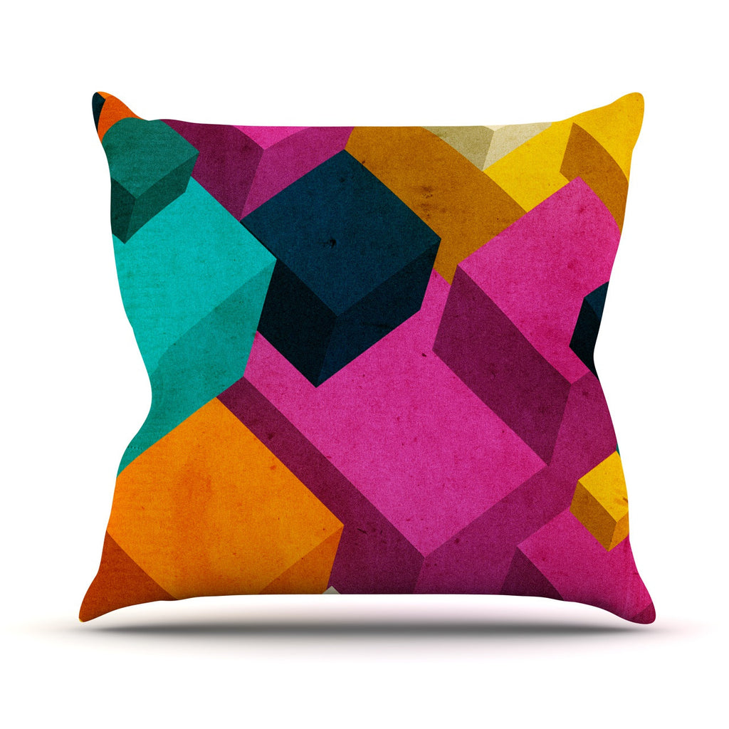 "Danny Ivan ""Happy Cubes"" Throw Pillow - KESS InHouse  - 1"