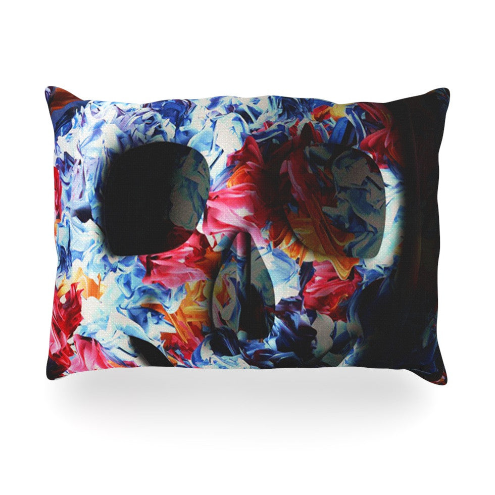 "Danny Ivan ""Skull Light"" Blue Pink Oblong Pillow - KESS InHouse"