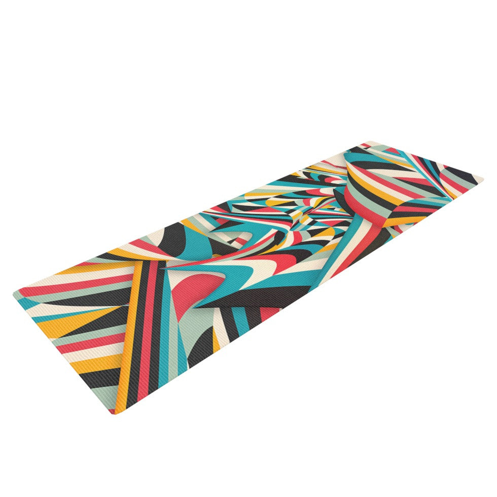 "Danny Ivan ""Don't Come Close"" Abstract Blue Yoga Mat - KESS InHouse  - 1"
