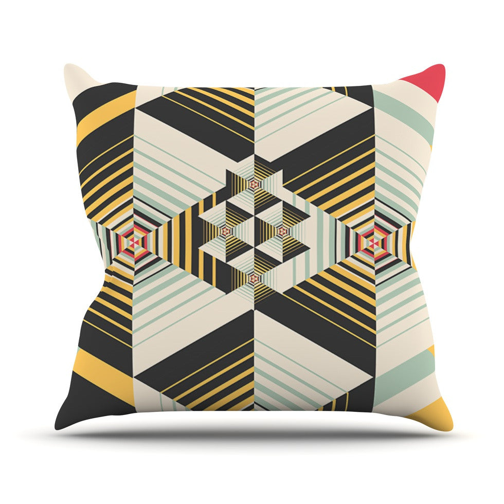 "Danny Ivan ""La Plus"" Black Yellow Outdoor Throw Pillow - KESS InHouse  - 1"