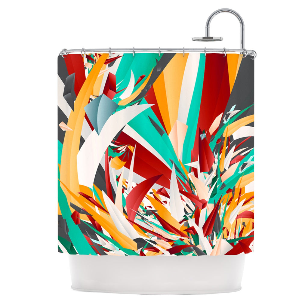 "Danny Ivan ""Lafaye"" Teal Red Shower Curtain - KESS InHouse"