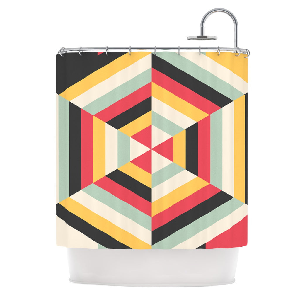 "Danny Ivan ""On Call"" Red Yellow Shower Curtain - KESS InHouse"