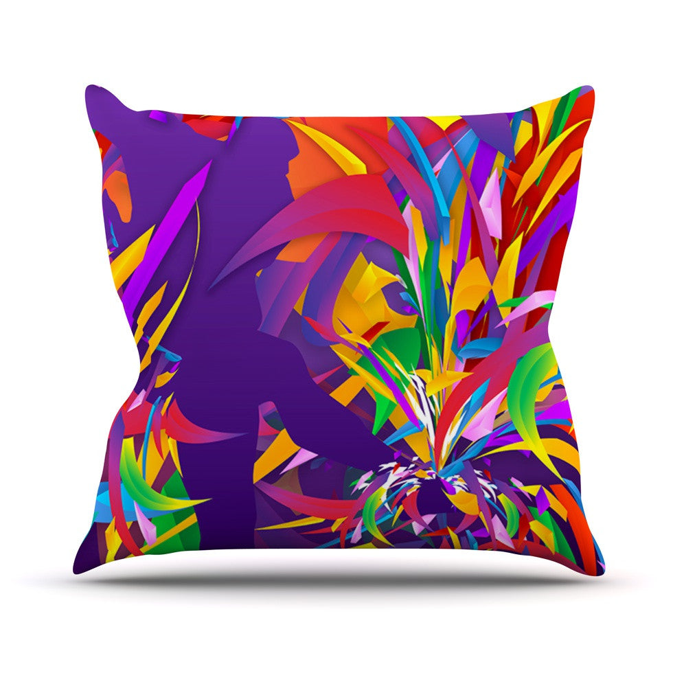"Danny Ivan ""Shooting"" Rainbow Purple Outdoor Throw Pillow - KESS InHouse  - 1"
