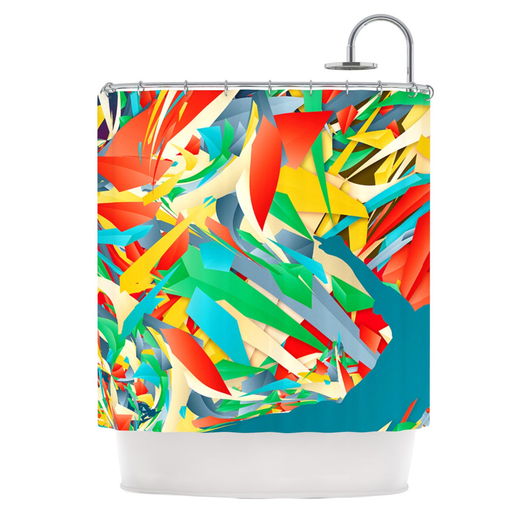 "Danny Ivan ""Soccer Slide"" Crazy Rainbow Shower Curtain - KESS InHouse"