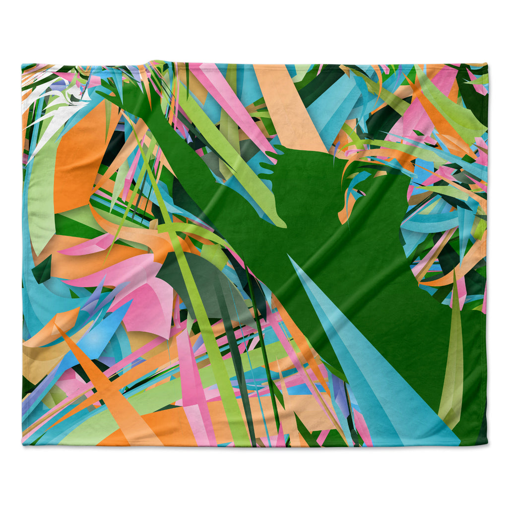 "Danny Ivan ""Soccer Defense"" Green Pink Fleece Throw Blanket"