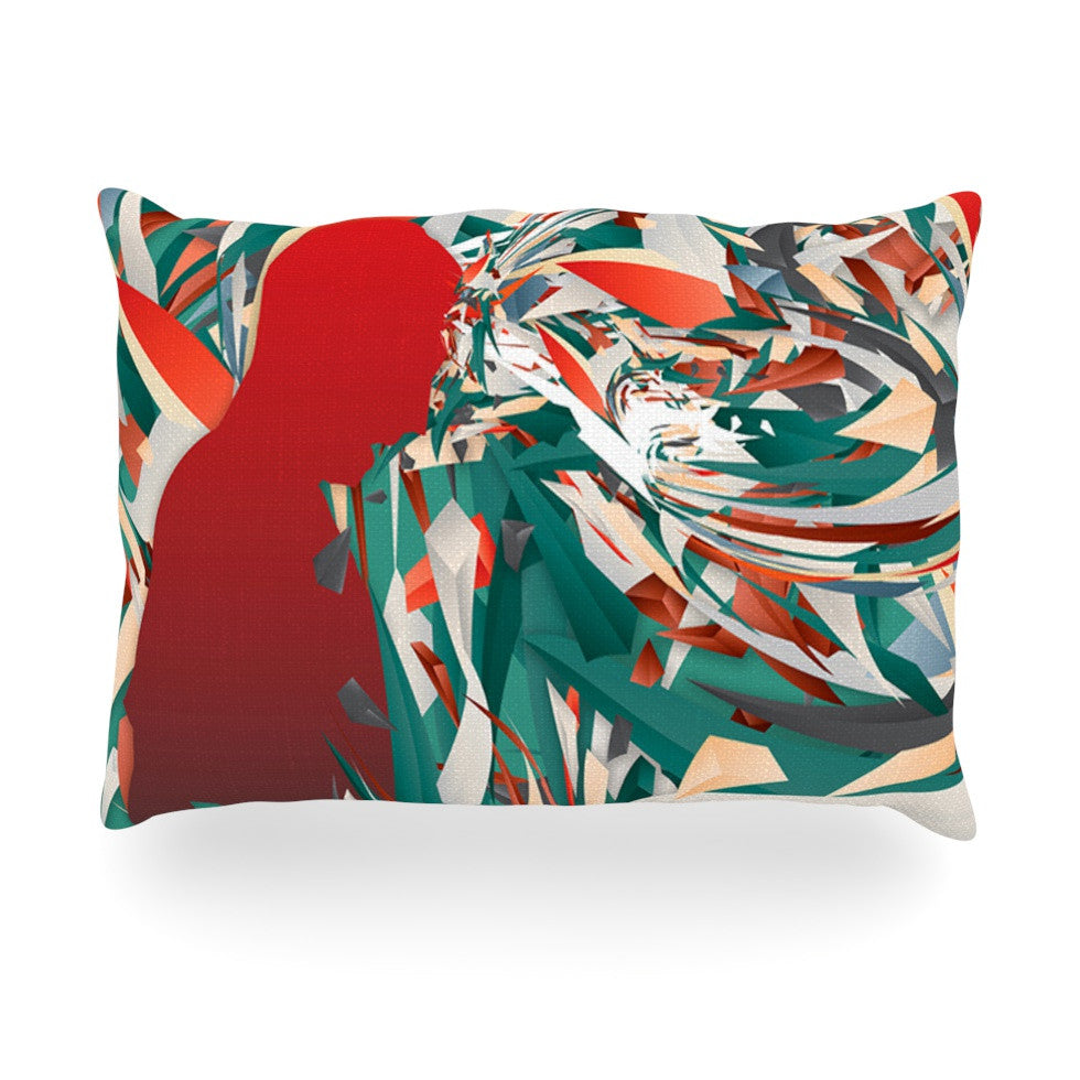 "Danny Ivan ""Soccer Headshot"" Teal Red Oblong Pillow - KESS InHouse"