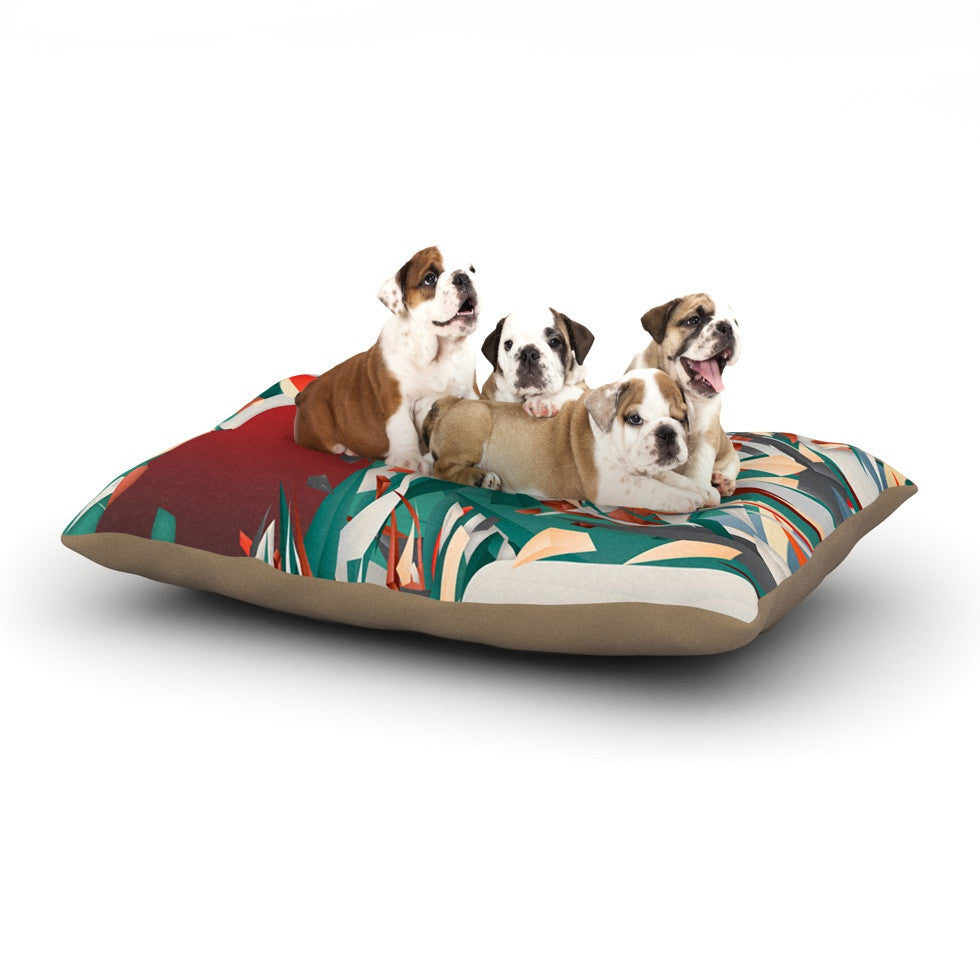 "Danny Ivan ""Soccer Headshot"" Teal Red Dog Bed - KESS InHouse  - 1"