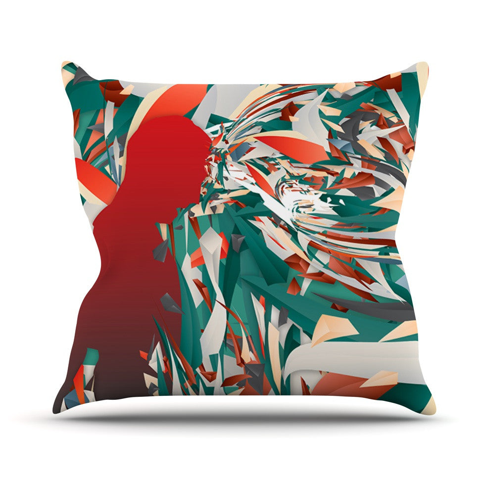 "Danny Ivan ""Soccer Headshot"" Teal Red Outdoor Throw Pillow - KESS InHouse  - 1"