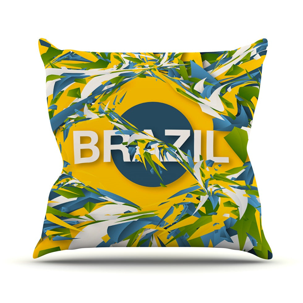 "Danny Ivan ""Brazil"" World Cup Outdoor Throw Pillow - KESS InHouse  - 1"