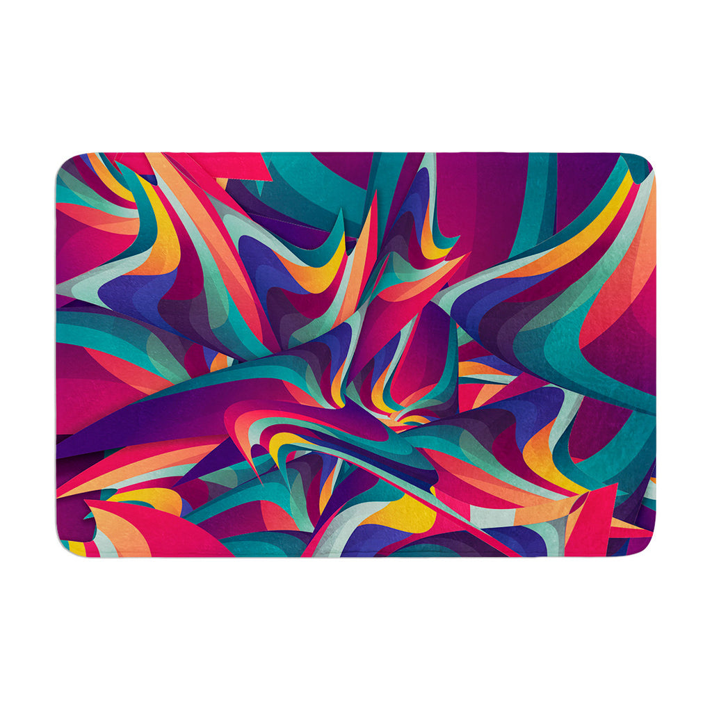 "Danny Ivan ""Wrong Past"" Teal Purple Memory Foam Bath Mat - KESS InHouse"