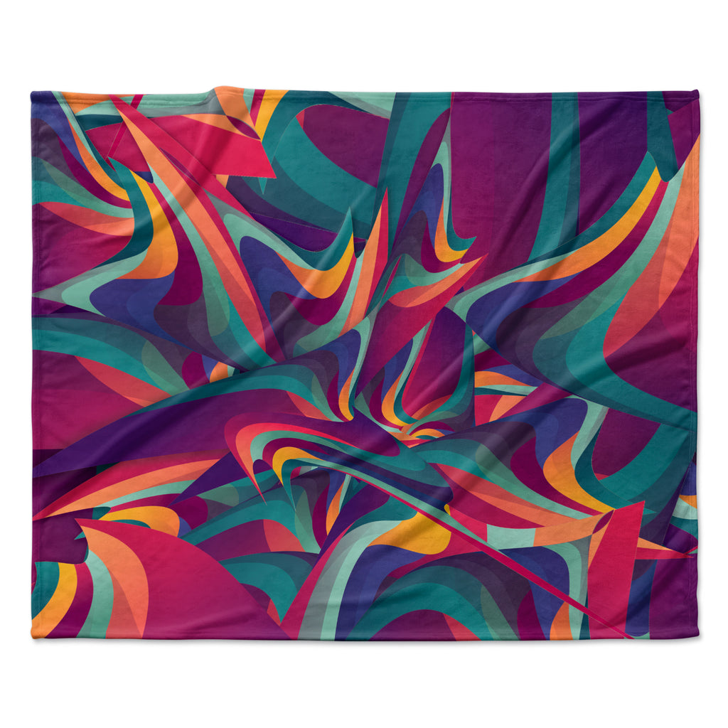 "Danny Ivan ""Wrong Past"" Teal Purple Fleece Throw Blanket"