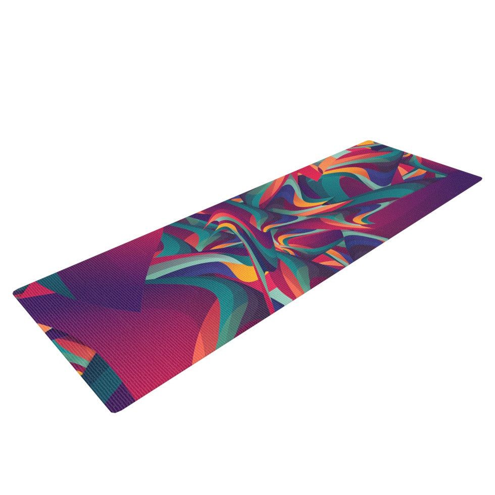 "Danny Ivan ""Wrong Past"" Teal Purple Yoga Mat - KESS InHouse  - 1"