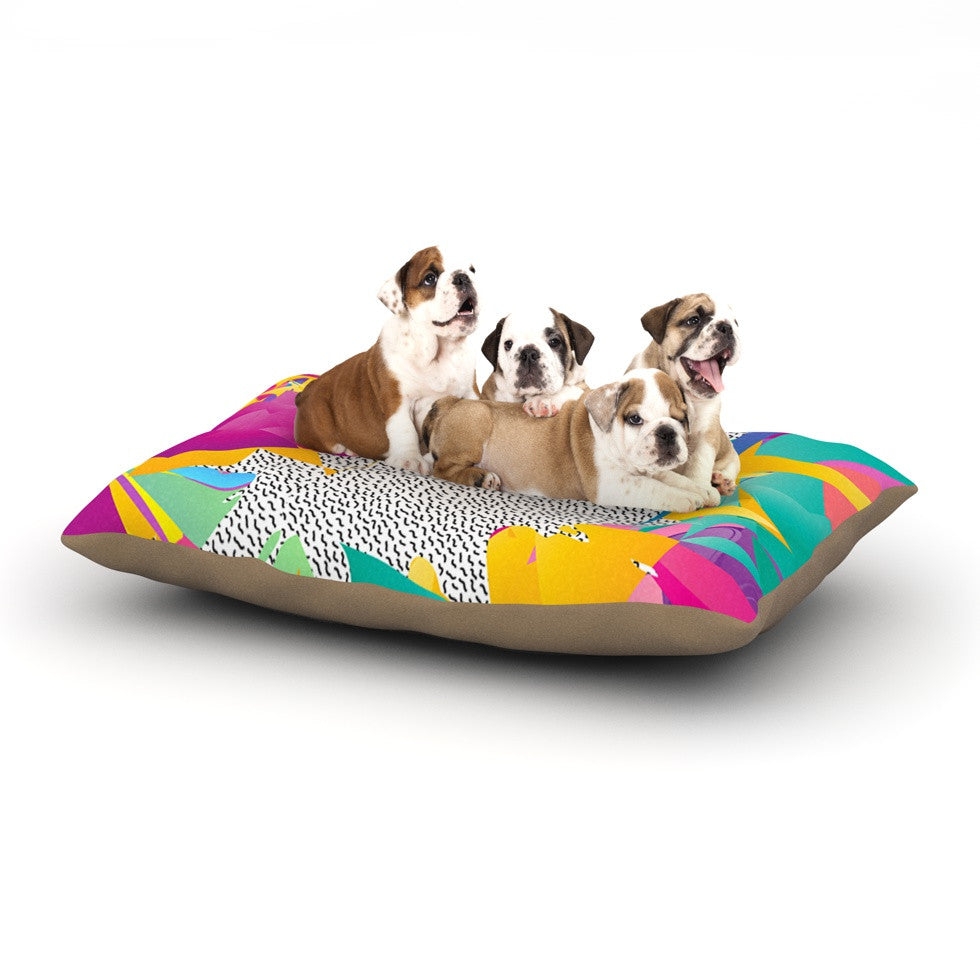 "Danny Ivan ""80's Abstract"" Pink Teal Dog Bed - KESS InHouse  - 1"