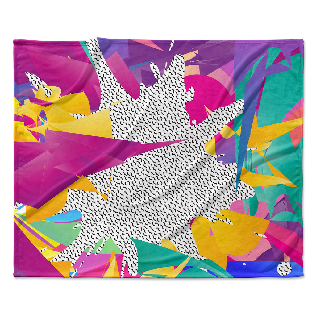 "Danny Ivan ""80's Abstract"" Pink Teal Fleece Throw Blanket"