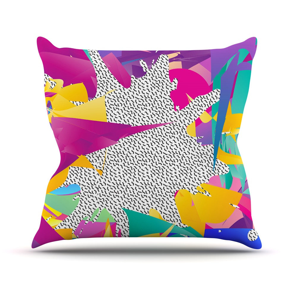 "Danny Ivan ""80's Abstract"" Pink Teal Outdoor Throw Pillow - KESS InHouse  - 1"