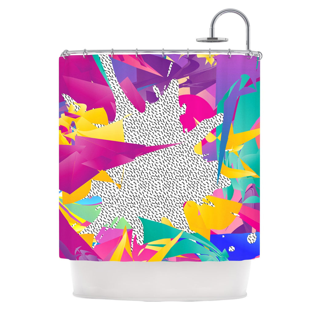 "Danny Ivan ""80's Abstract"" Pink Teal Shower Curtain - KESS InHouse"