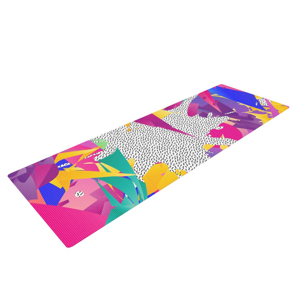 "Danny Ivan ""80's Abstract"" Pink Teal Yoga Mat - KESS InHouse  - 1"