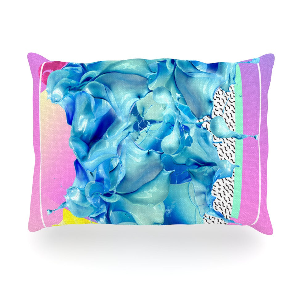"Danny Ivan ""Alothea"" Blue Pink Oblong Pillow - KESS InHouse"