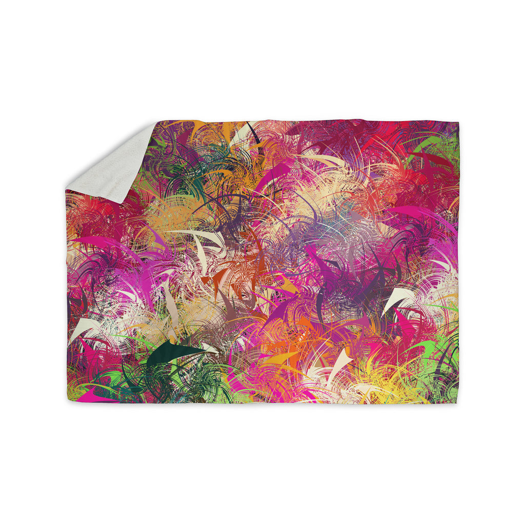 "Danny Ivan ""Splash"" Rainbow Abstract Sherpa Blanket - KESS InHouse  - 1"