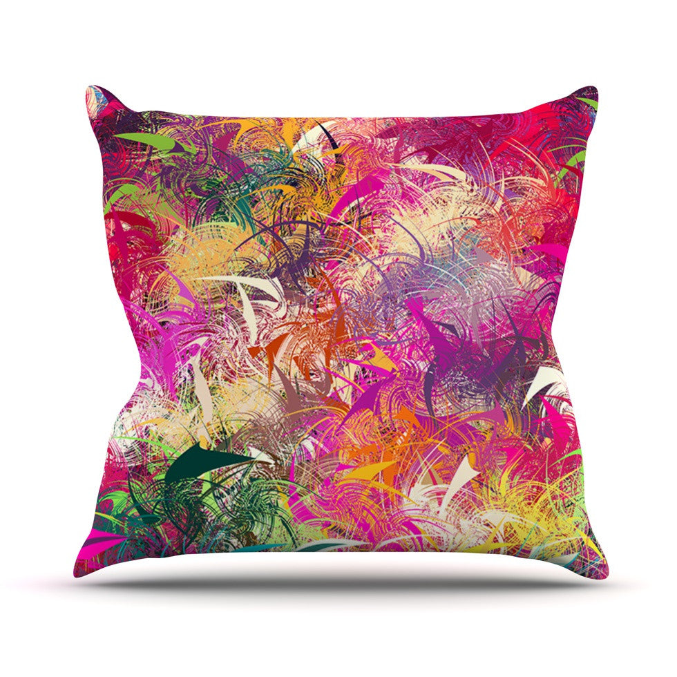 "Danny Ivan ""Splash"" Rainbow Abstract Throw Pillow - KESS InHouse  - 1"