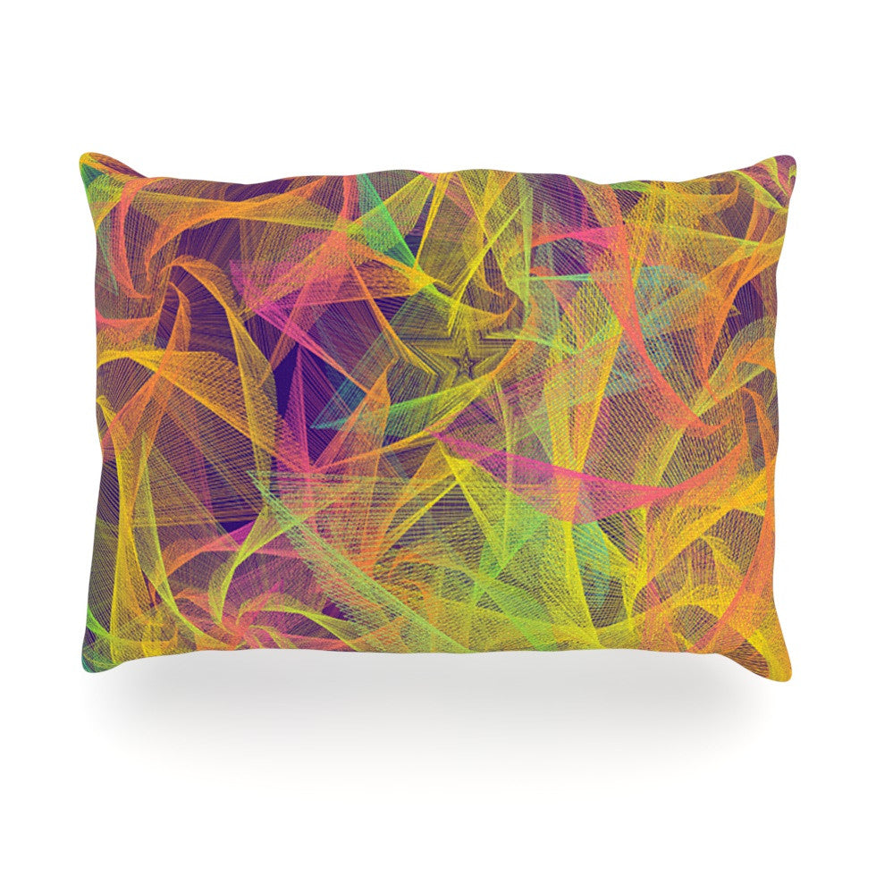 "Danny Ivan ""Blend Everywhere"" Yellow Abstract Oblong Pillow - KESS InHouse"