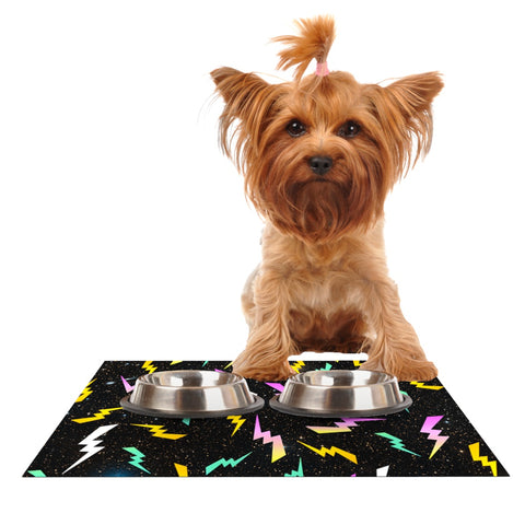 "Danny Ivan ""Bolt Pattern"" Black Lightning Dog Place Mat - Outlet Item"