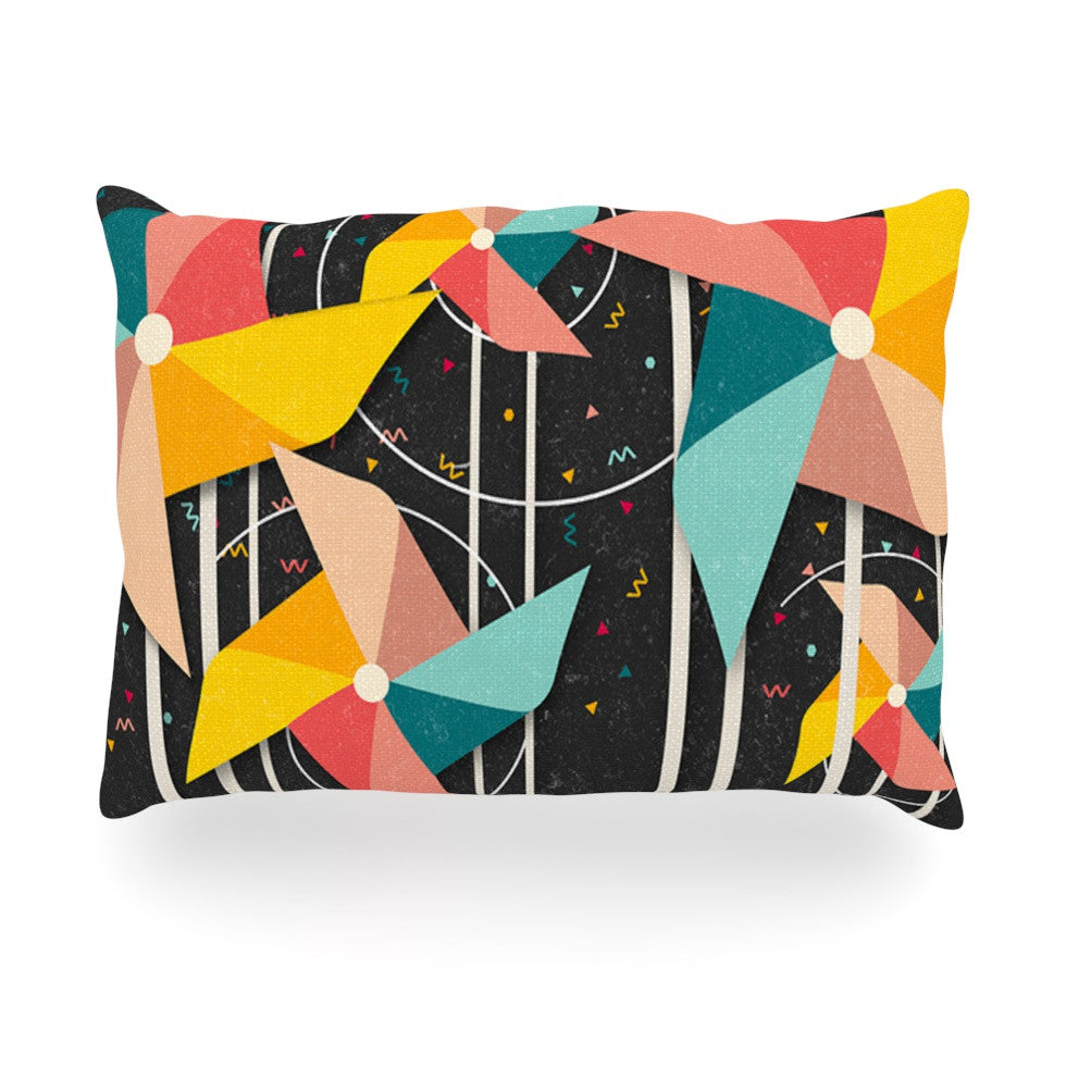 "Danny Ivan ""Colorful Pinwheels"" Black Abstract Oblong Pillow - KESS InHouse"