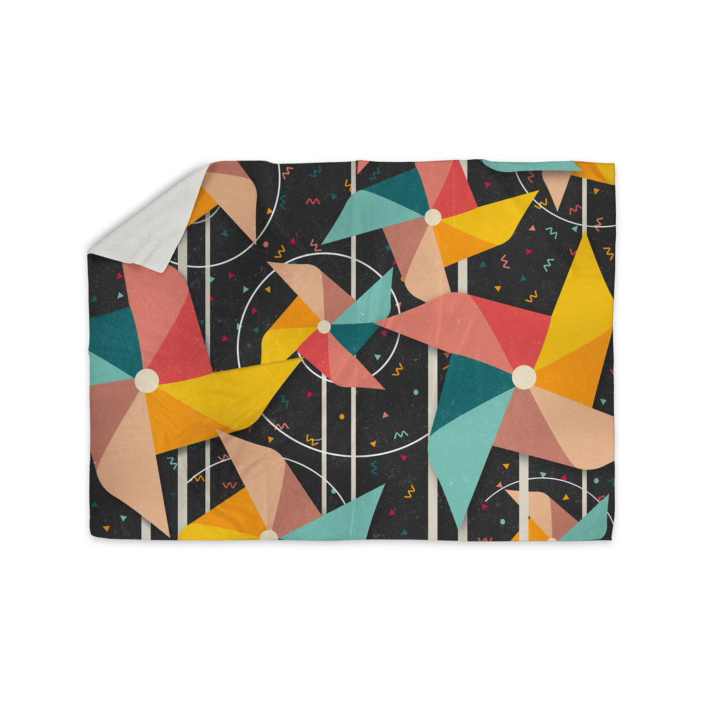 "Danny Ivan ""Colorful Pinwheels"" Black Abstract Sherpa Blanket - KESS InHouse  - 1"