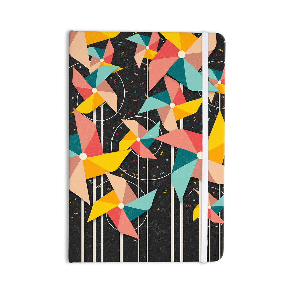 "Danny Ivan ""Colorful Pinwheels"" Black Abstract Everything Notebook - KESS InHouse  - 1"