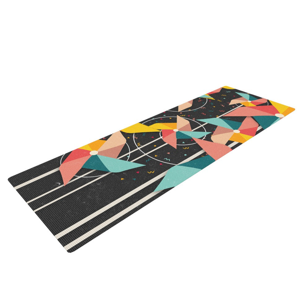 "Danny Ivan ""Colorful Pinwheels"" Black Abstract Yoga Mat - KESS InHouse  - 1"